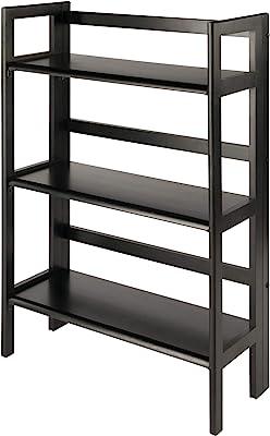 Winsome Wood 3-Shelf Wide Shelving Unit Espresso No basket Top Daily Deal