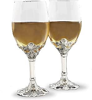Arthur Court Designs Aluminum Fleur-De-Lis Base Wine Glasses 8.5