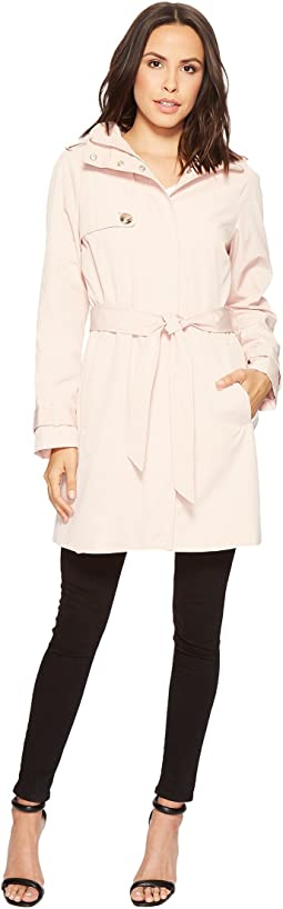 Crest Button Belted Raincoat