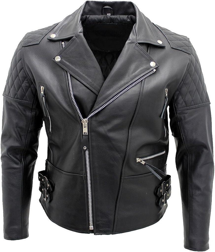 Men's Black Biker Real Cowhide Leather Jacket