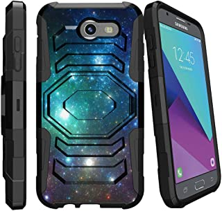 MINITURTLE Compatible with Samsung Galaxy J3 Emerge | J3 (2017)| Samsung J3 J327 Holster [Armor Reloaded] Heavy Duty Impact Holster Case + Soft Silicone + Stand Colorful Galaxy w/Specs