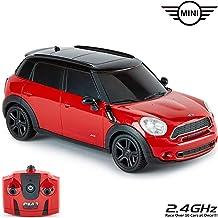 CMJ RC Cars ™ Mini Countryman JCW Coche de control remoto con licencia oficial Luces de trabajo a escala 1:24 2.4Ghz Rojo