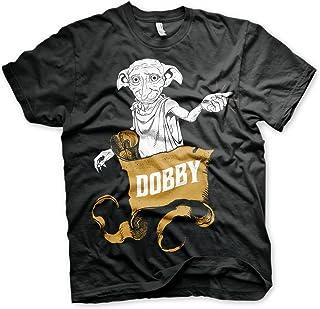 HARRY POTTER Licenza Ufficiale Dobby Big & Tall (3XL,4XL,5XL) Maglietta da Uomo (Nera)