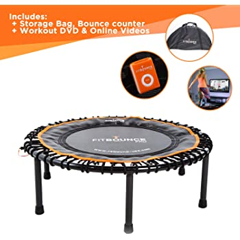 FIT BOUNCE PRO II Bungee Rebounder | Half Folding, Silent& Beautifully Engineered Professional Mini Trampoline for Adults & Kids | Includes DVD, Storage Bag & BounceCounter| Free Online Video Workouts