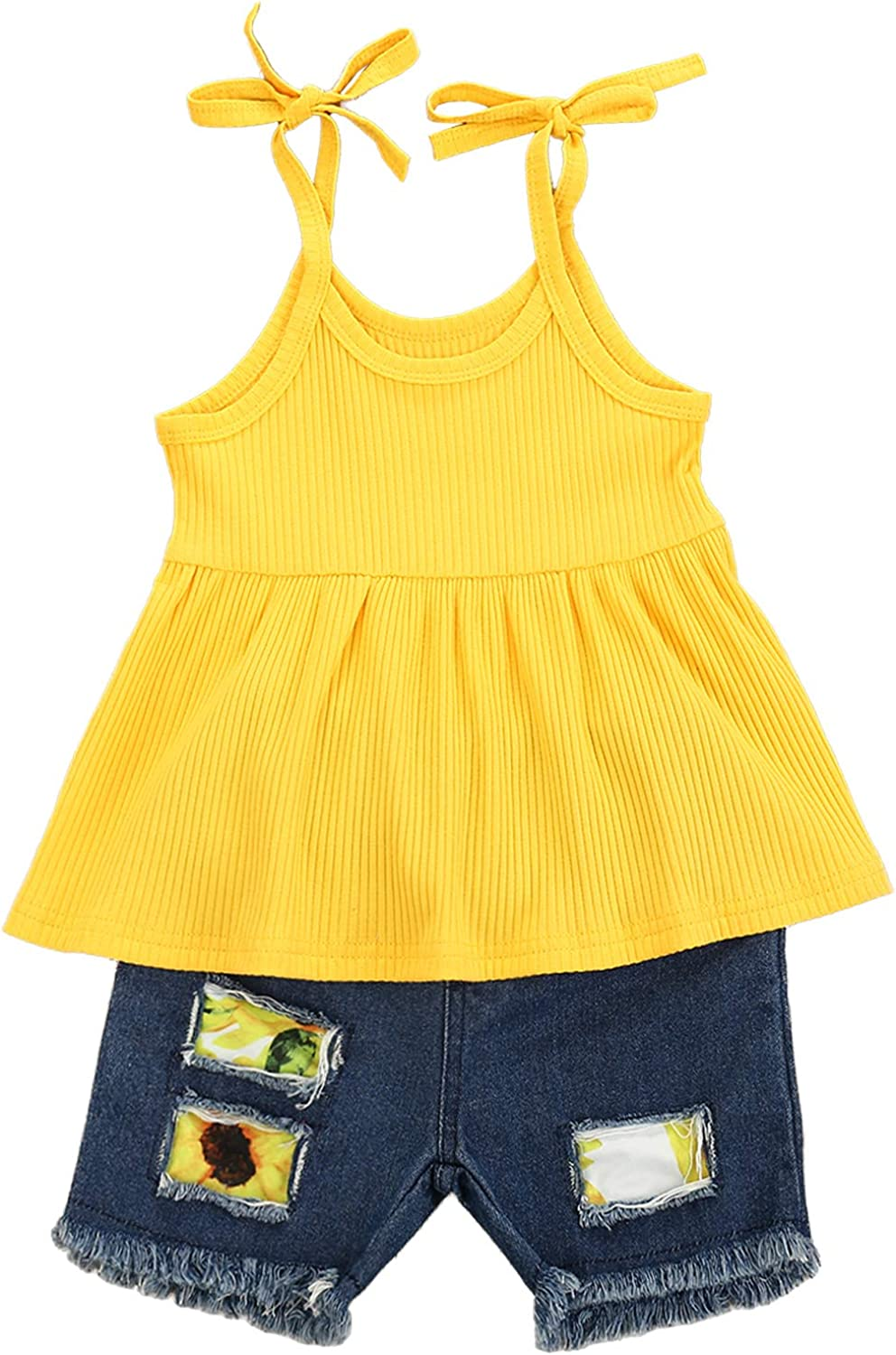 Toddler Baby New Shipping Free Shipping Girl Outfits Bow Halter Sacramento Mall + Bowknot Tops Crop Flower