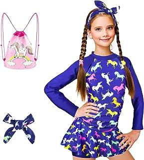 ZukoCert Girls Sunsuit Swimwear Sets Kids Long Sleeve 2 Piece Rash Guard Swimsuits 1-9 Years Surfing Swimsuits for Girls