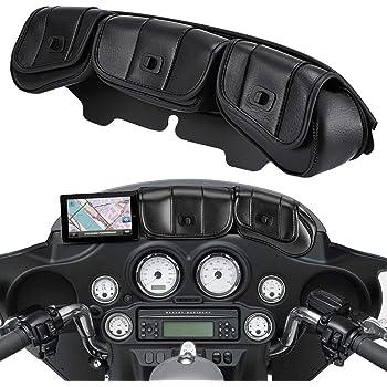 NATGIC Borsa per Parabrezza in Pelle PU con Chiusura Magnetica per Harley Touring Street Glide Electra Glide 1996-2013