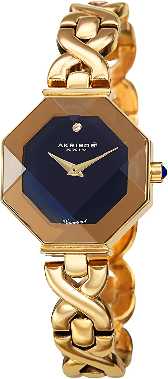 Akribos We OFFer at cheap prices Octagonal Case Faceted overseas Crystal wi - Women's Watch Lens