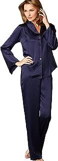 Women's Goodnight Midnight 100% Silk PJs, Pajama Set, Embroidered Trim, Regular or Petite