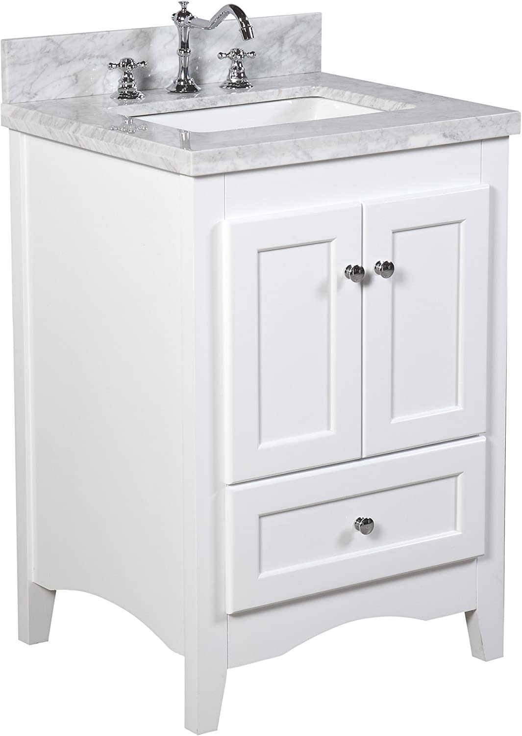 Amazon Com Abbey 24 Inch Bathroom Vanity Carrara White Includes White Cabinet With Authentic Italian Carrara Marble Countertop And White Ceramic Sink Home Improvement