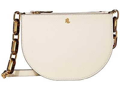 LAUREN Ralph Lauren Halfmoon Classic Pebble Sutton 22 Crossbody Medium (Vanilla) Handbags