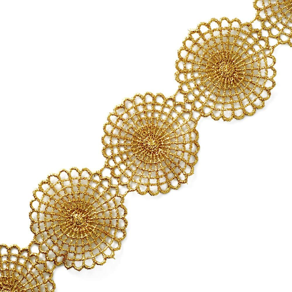 Metallic Gold Max Milwaukee Mall 45% OFF Lace Trim for Bridal or Costume Crafts a Jewelry