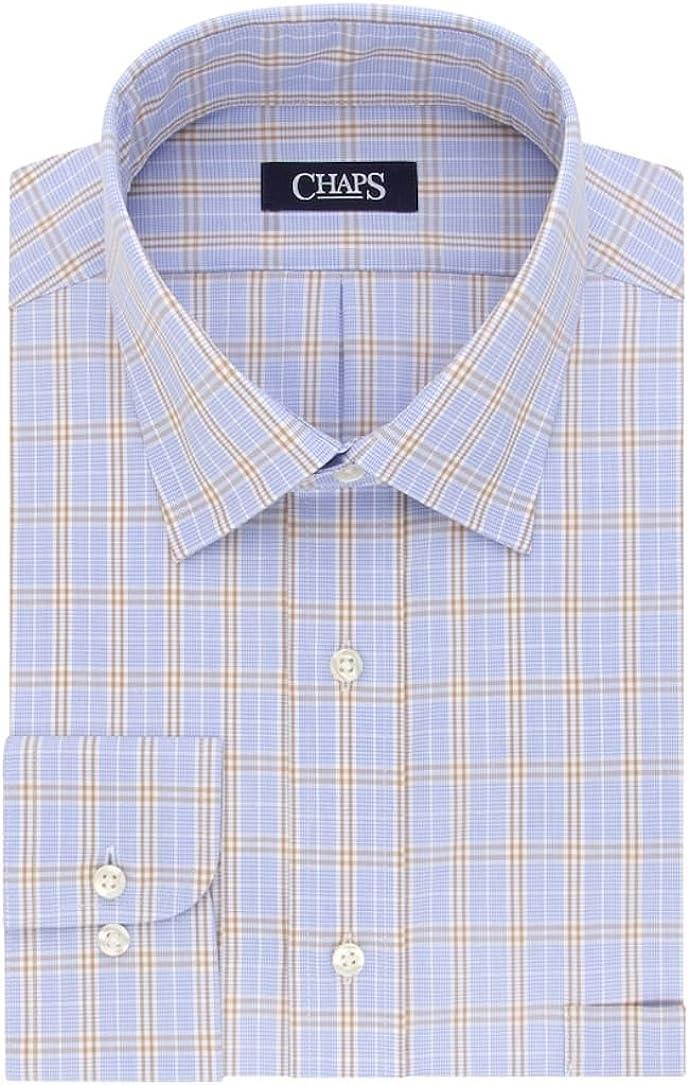 Chaps Men's Regular-Fit Stretch Collar Wrinkle-Free Dress Shirt Size Blue