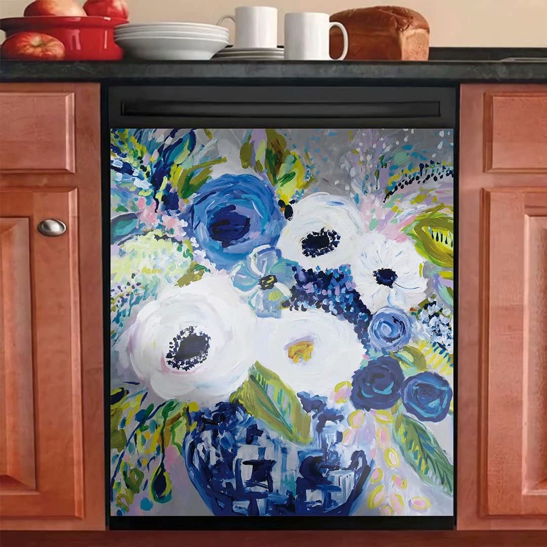 Lightish White Blue Vase Inventory cleanup selling sale Flowers Louisville-Jefferson County Mall Decorative Oil Painting Magneti