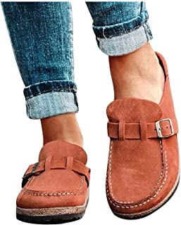 FENGLISUSU Women's Slip on Penny Loafers, Backless Mule Slides Flat Sandals, Round Toe Nubuck Plus Size Loafers for Women