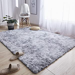 Noahas Abstract Shaggy Rug for Bedroom Ultra Soft Fluffy Carpets for Kids Nursery Teens Room Girls Boys Thick Accent Rugs Home Bedrooms Floor Decorative, 3 ft x 5 ft, Light Grey