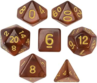Wiz Dice Desert Topaz Set of 7 Polyhedral Dice, Translucent Brown Iced Tea Colored Tabletop RPG Dice with Clear Display Box