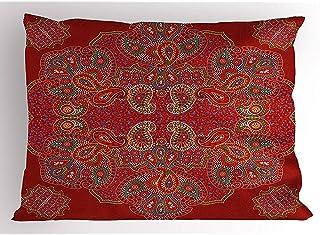 Mandala rojo Diseño persa marroquí Paisley rectangular oriental Estampado floral Rectangular Decorativo Decoración para el hogar Funda de almohada cuadrada, 20X26 In