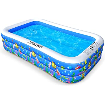 """AOKIWO Family Inflatable Swimming Pool, 122"""" X 72"""" X 22"""" Full-Sized Inflatable Lounge Pool Kiddie Pool for Kids, Adults, Infant, Garden, Backyard, Outdoor Swim Center Water Party"""