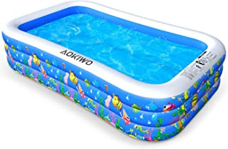 """AOKIWO Family Swimming Pool, 121"""" X 71"""" X 21"""" Full-Sized Inflatable Lounge Pool Kiddie Pool for Kids, Adults, Infant, Garden, Backyard, Outdoor Swim Center Water Party"""