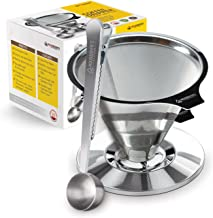 Housewares Solutions Stainless Steel Pour Over Coffee Dripper + Bonus Coffee Scoop With Built In Bag Clip And Cleaning Brush
