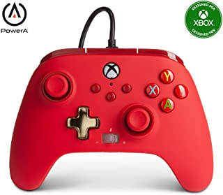 Power A - Mando con cable, salida de audio y botones programables, de color rojo para Xbox One y Xbox serie X (Xbox Series X)