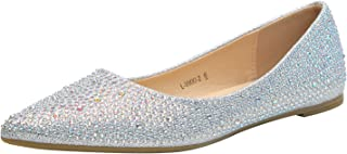 Sparkly Crystals Rhinestone Comfortable Slip On Point Toe Ballet Flat Shoes for Women Wedding Party Office,(VIKKI02)