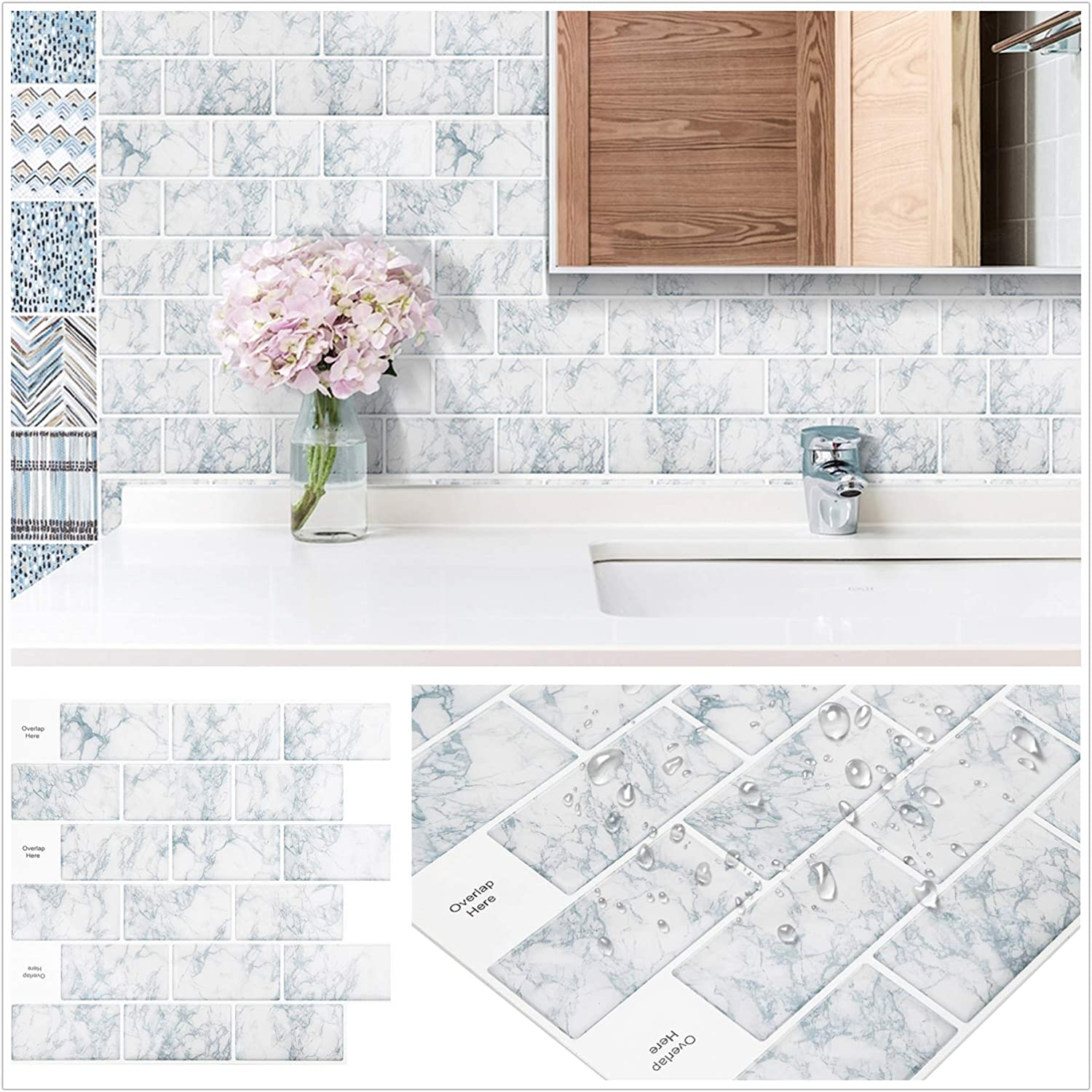Amazon Com Homeymosaic Subway Peel And Stick Backsplash Tile For Kitchen 12 X12 3d Wall Vinyl Stickers With White Grout 1 Sheet Snowflake Marble White Kitchen Dining