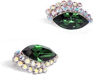 Elegant Swarovski Crystal Emerald Green Exclusive Luxurious Elegant Earrings   Uniq Chic Stud Earrings for Women Girls