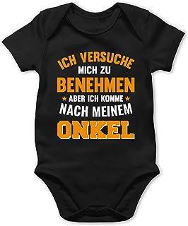 Shirtracer Sprüche Baby - Ich versuche Mich zu benehmen Aber ich komme nach Meinem Onkel orange - Baby Body Kurzarm für Jungen und Mädchen
