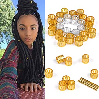Mixed Golden Silver Dreadlock Beads for Hair Adjustable No Rust Aluminum Metal Cuffs Beads 8.5mm 100pcs Braiding Hair Decoration Jewelry by AliLeader (Mixed Golden Silver)