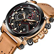 LIGE Men's Fashion Sport Quartz Watch with Brown Leather Strap Chronograph Waterproof Auto Date...