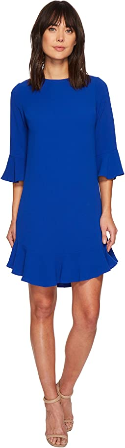 CeCe - 3/4 Sleeve Ruffle Hem Shift Dress