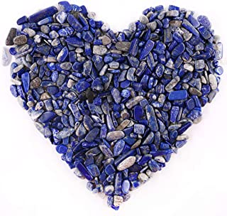 Hilitchi Lapis Lazuli Quartz Tumbled Chips Stone Crushed Crystal Natural Rocks Irregular Shape Healing Home Indoor Decorative Stones for Vases Plants Succulents Garden (About 1lb(455g)/Bag)