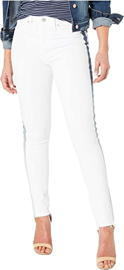 Barbara High-Rise Ankle Skinny Jeans with Denim Insert in White Ice
