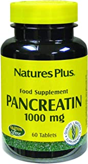 NaturesPlus Pancreatin - 1000 mg, 60 Tablets - Natural Digestive Enzyme Supplement for Gastrointestinal Support - Contains...