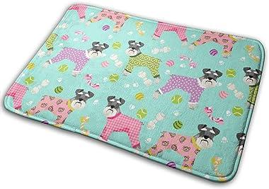 Schnauzers in Jammies Cute Dogs in Pajamas Pyjamas - Mint_24613 Doormat Entrance Mat Floor Mat Rug Indoor/Outdoor/Front Door/