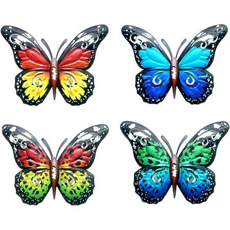 4PCS Métal Papillon Mural Décor, Murale Papillon Art Mural Pour Décor de Clôture de Jardin Intétrieur OU Extérieur, Sculpture Sculpture Mur Jardin Art