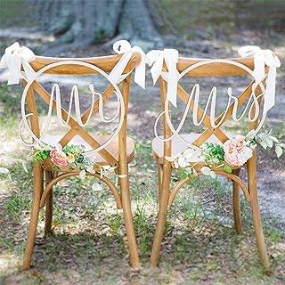 Yiwa Exquisite Holz Stuhl Rückseite Hänger Anhänger mit Band für Hochzeit Party Dekoration Mr Mrs