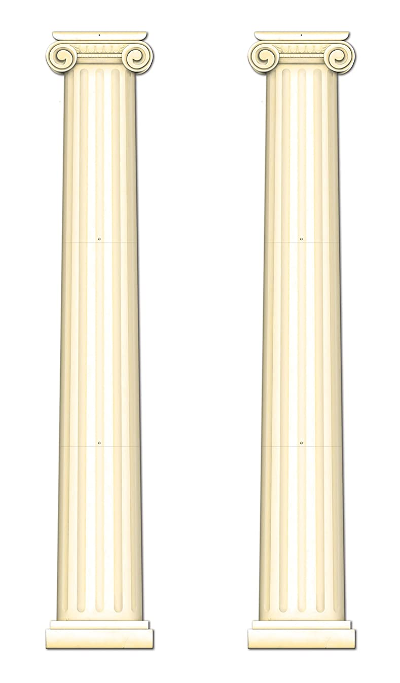 Beistle S54486AZ2 Jointed Column Pull-Down Cutout 2 Piece, Off- Off-white
