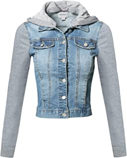 Women's Casual Button Down Stretch Denim Jacket with Detachable Hoodie
