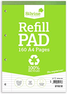 Silvine 160 Page A4 Everyday Recycled Refill Pad. Ruled 8Mm Feint With Margin [Pack Of 6]