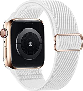 HdanMole Compatible with Apple Watch Bands 38MM 40MM 42MM 44MM for Women Men Adjustable Soft Stretchy Solo Loop Strap,Braided Elastics Nylon Wristband Compatible for iWatch Series 6/5/4/3/2/1/SE