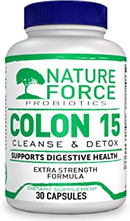 Nature Force Colon 15 Day Cleanser & Detox for Weight Loss. Strength Detox Cleanse with Probiotics, Pure Colon Detox Pills for Women & Men, Increased Energy Levels, Flush Toxins.
