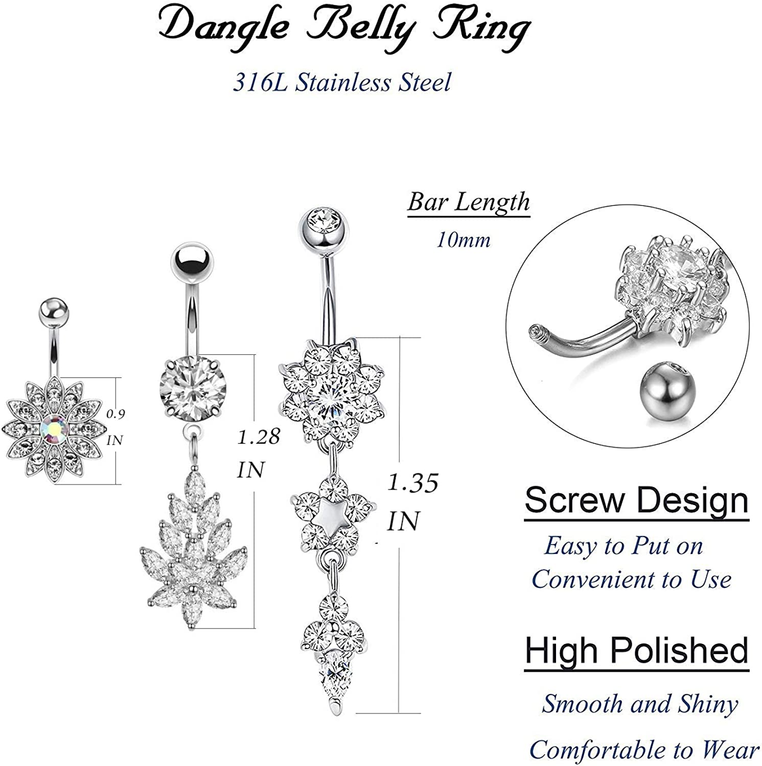Tinblin 3-9PCS 14G Stainless Steel Belly Button Rings CZ Inlaid Dangle Navel Ring Body Piercing Jewelry…