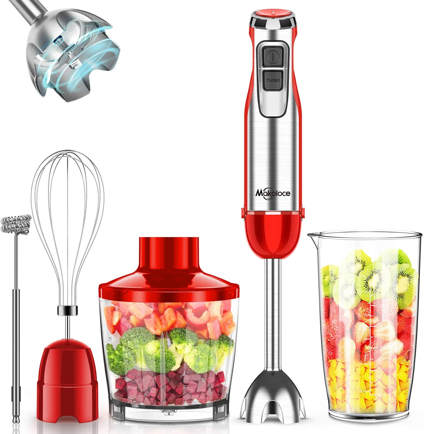 Makoloce Hand Blender 800W 5-in-1 Shipping included Han New arrival Immersion 12-Speed