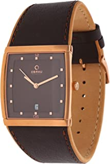 Obaku Men's Brown Dial Leather Band Watch - V102GVNRN