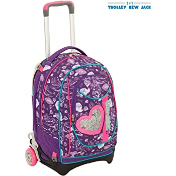 TROLLEY NEW JACK scuola ROSES 2018 GIRL zaino SEVEN staccabile NERO