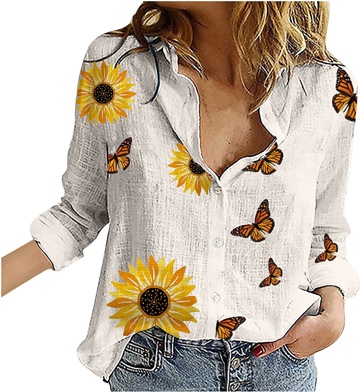 Fashion Women Loose Button Sunflower Print Lapel Long Sleeve T-Shirts Blouse Top Summer Tops Tee Shirts Blouse