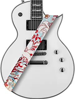 Amumu Guitar Strap White Lily Flower Light Blue Polyester Cotton for Acoustic, Electric and Bass Guitars with Strap Blocks & Headstock Strap Tie - 2